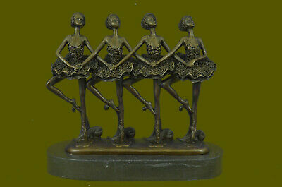 Decor Hand Made 4 Ballerina Ballet Bronze Figurine Marble Base Figure Statue EG