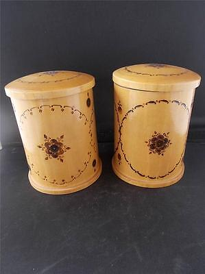 Pair 2 Vintage Pokerwork Wooden Tea Caddy Storage Jars Poker work Wood Design