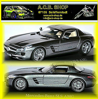 Cars Lovely Mercedes Benz Sls Amg C197 Coupe 2009-14 Obsidian Black Black Metallic 1:87