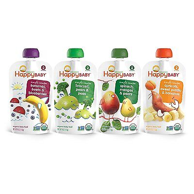 Happy Baby Organic Baby Food, Stage 2 4 Flavor Variety Pack, 4 Ounce Pack of 16