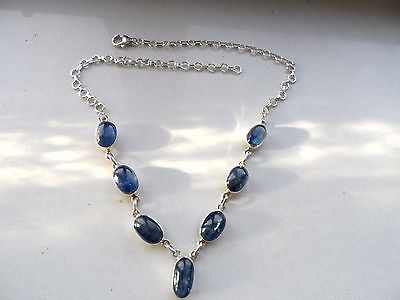 Kyanite &  Silver Necklace Handcrafted Cabochon Necklace
