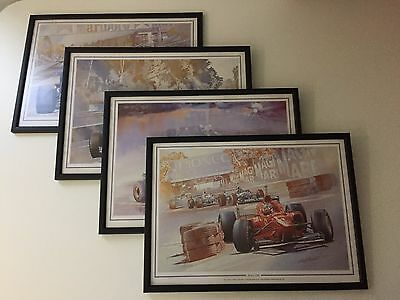 Collection of 4 Formula One 1 Art Prints by Craig Warwick in Original frames.