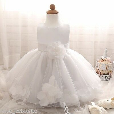 Desiree Baby Girl White Dress Christening Wedding Party Pageant Gown Bridesmaid