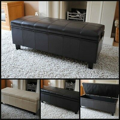 NEW Real Genuine Leather Brown Black Cream Ottoman Box Storage Footstool Pouffe