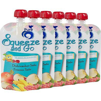 Pure Squeeze and Go Reusable Refillable Food Pouches 6 Pack with 6 EXTRA to fill