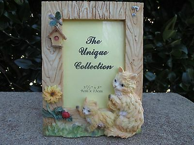 """Cat Woodlike Textured Picture Frame 3.5"""" X 5"""""""