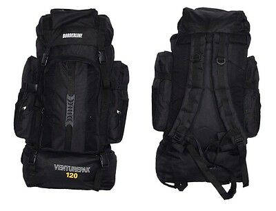 XLarge 120L Travel Hiking Rucksack Backpack Camping Festival Luggage Bag Black