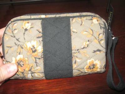 Longaberger Fabric Khaki flower cosmetic bag / wristlet