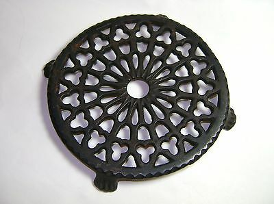 Antique Round Ornate Cast Iron Footed Vintage Trivet Perfect for Primitive Decor