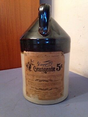 Extremely Scarce Antique Daggett's Orangeade 1 Gallon Stoneware Syrup Jug