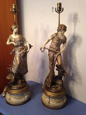 Huge Pair Of L & F Moreau Figural Statue Lamps Made In France