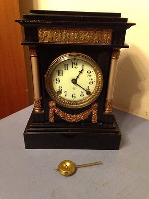 Antique Ansonia Iron Case Clock Rare Ornate Model Greco Roman Motif