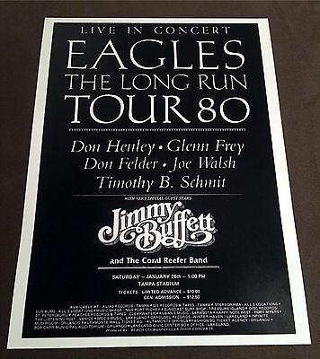 1980 THE EAGLES & JIMMY BUFFETT Concert Tour Poster Ticket Stub Flyer TAMPA FL
