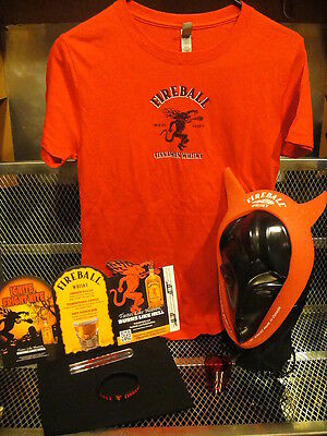 FIREBALL WHISKY PROMO Ladies Large ~ PARTY GIRL SET ~ T Shirt Crown Shotglass ++