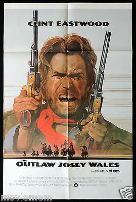 THE OUTLAW JOSEY WALES Original One sheet Movie poster CLINT EASTWOOD Very rare