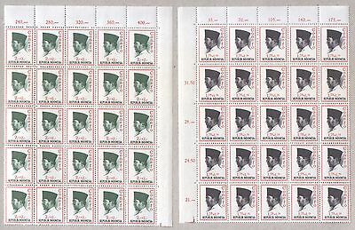 Indonesia 50 Definitive Stamps 1964 in 2 Blocks MNH