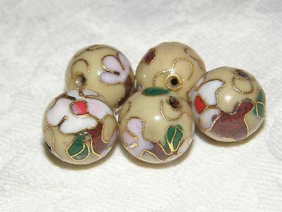 10 Beige Round Cloisonne Floral Beads with Pink Flower and Bud, 13 mm