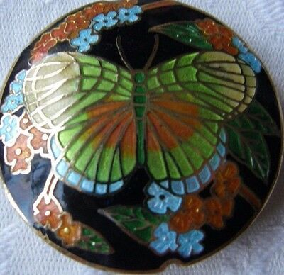 Round Cloisonne Bead, Black/Green Butterfly Design, 42 mm. Jewellery Making