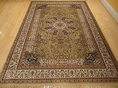 Silk Persian Rugs Hand Knotted Fringes 8x10 Beige Oriental