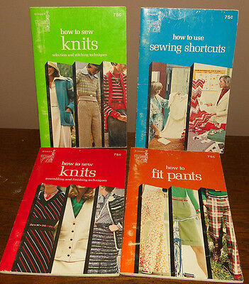 Singer HOW TO sew knits fit USE SEWING SHORTCUTS library series 1970s Vtg Books