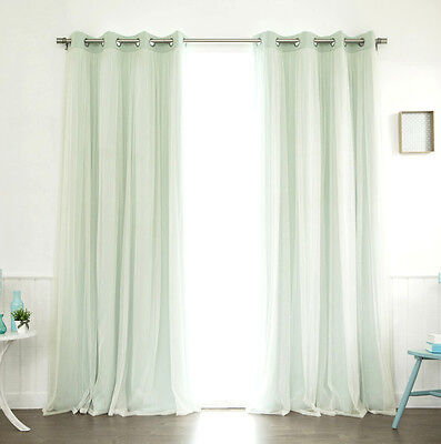 Best Home Fashion's Lace Tulle Overlay Blackout Curtain Window Panels Drapes NEW