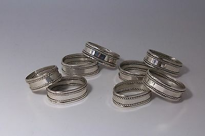 Sterling Silver Napkin Rings Mexico Set of Eight No monogram