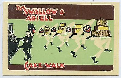 "C.1910 Pt Npu Aust Comic ""racist"" Advert Postcard Swallow & Ariell Cake Walk A91"