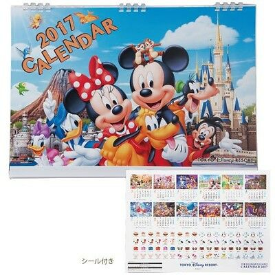 New Disney 2017 wall calendar large sticker Mickey Mouse Minnie Tokyo Limited