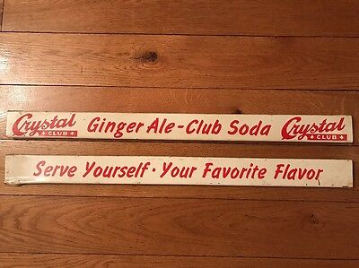 Vtg Crystal Club Ginger Ale Club Soda Dickson City, PA Metal Door Push Signs