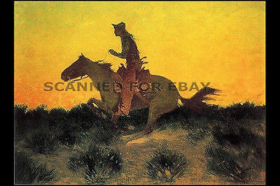Frederic Remington painting print Cowboy Horseback Riding horse western photo R2