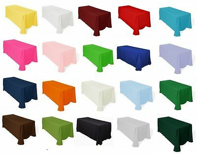 "10 Lot 90""×132"" Polyester Tablecloths 18 COLORS Made in USA Banquet Rectangle"