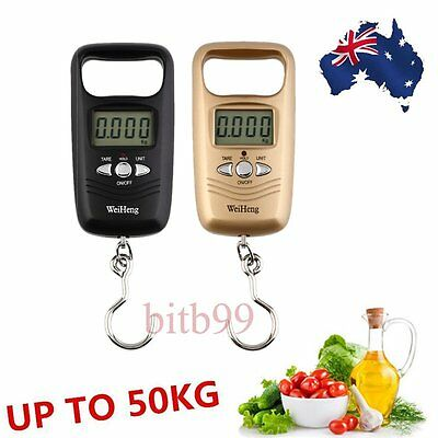 Portable LCD Electronic Hanging Fish Luggage Digital Hook Weight Scale 50kg AU#