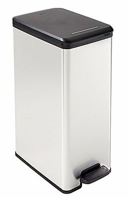Curver Slim Deco Bin Silver 40 Litre Easy To Clean Perfect New UK SELLER