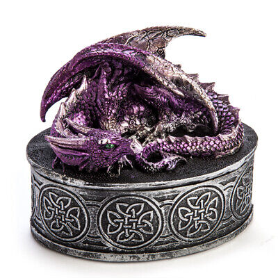 Purple Dragon Oval Statue Trinket Jewellery Small Box Gothic Fantasy