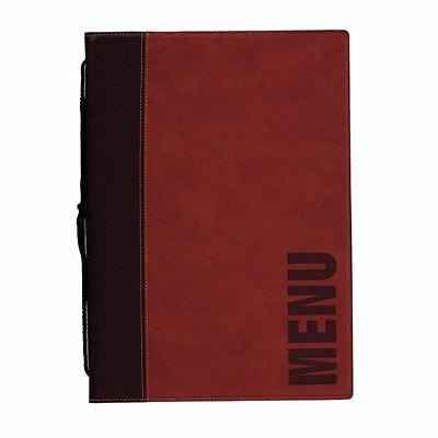 Securit Contemporary Menu Holder A4 Red Synthetic Leather Leaflet Stands