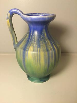 Empire Ware Drip Glaze Pitcher 1930's Blue Yellow Green Made in England