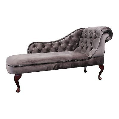 Designer Traditional Chaise Longue in Mink Velvet Fabric with stud detail NEW