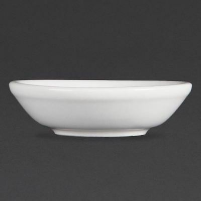 12X Olympia Whiteware Soy Dishes 70mm Porcelain Sauce Dipping Bowls Restaurant