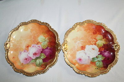 "Pair of Coronet Limoges  9 3/4"" Dinner Plates Featuring French Tea Roses"