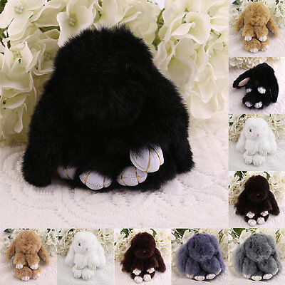 6 inch Cute Fluffy Bunny Rabbit Key Chain Ring For Phone Bag Lucky Pendant AU