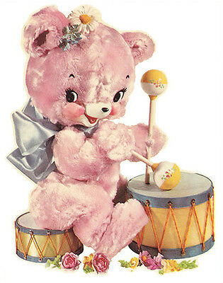 XXL VinTaGe RePrO PinK BeaR & DRuM ShaBby WaTerSLiDe DeCAL ~FurNiTuRe SiZe~