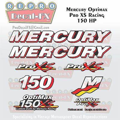 Mercury Marine Racing Optimax Pro XS 150HP Outboard Reproduction Decals 9 Pc
