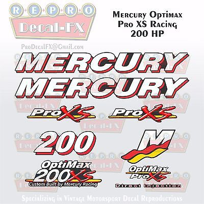 MERCURY 250HP OPTIMAX ProXs Outboard Engine Decals Pro XS