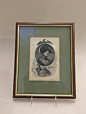 Russian Antique Vintage Pen and Ink Print of Tsar Alexander I Emperor of Russia