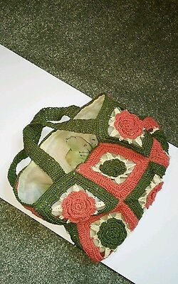 Sewing Knitting Embroidery Crochet Cotton Bag Green Cream and Rose Pink