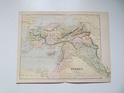 "TURKEY IN ASIA -VINTAGE MAP c1890- ""THE GALLERY OF GEOGRAPHY"" ATLAS 10X13inch"