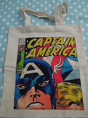 natural coloured  tote bag with captain america / marvel applique