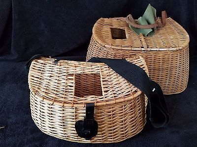 2 Fishing Creel Wicker Baskets w straps Fly Fish Old Vintage Fishermans Decor