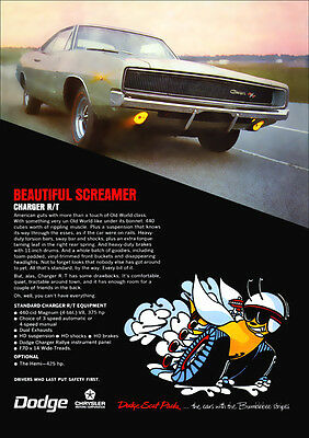 Dodge 68 Charger Rt Mopar Retro A3 Poster Print From Advert 1968