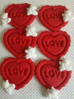 VALENTINE RED LOVE HEARTS AND CHERUBS Edible Sugar Cake topper Cupcakes
